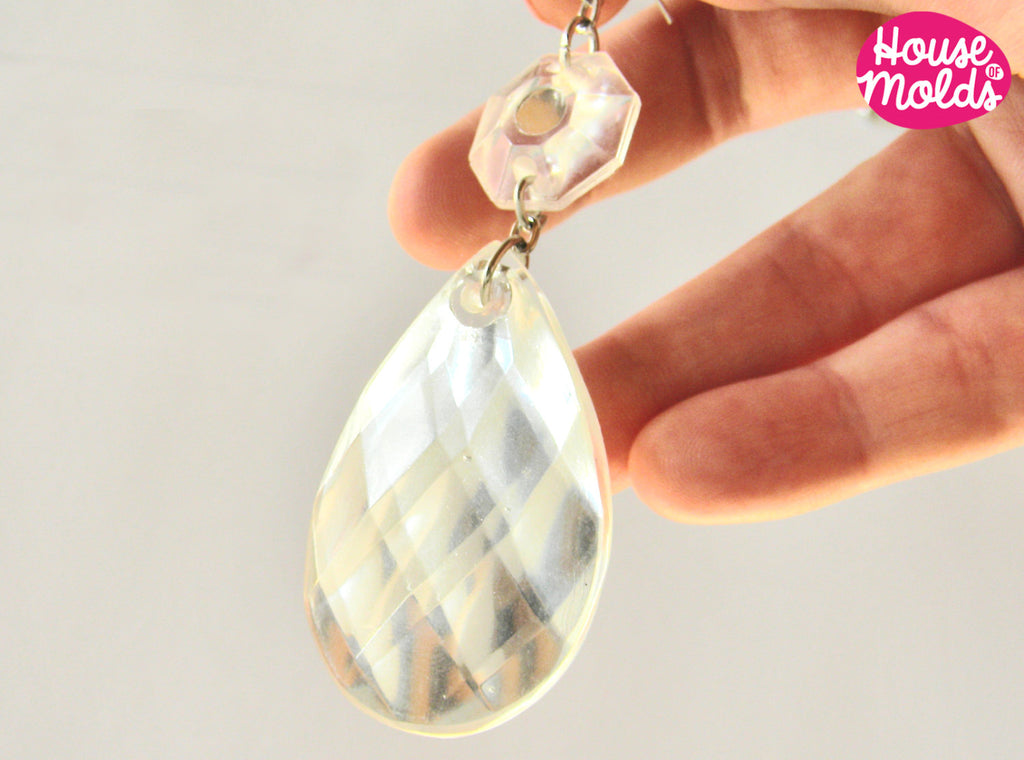 Faceted Teardrop Earrings 1 clear mold with  pre-made holes -flat back- house of molds