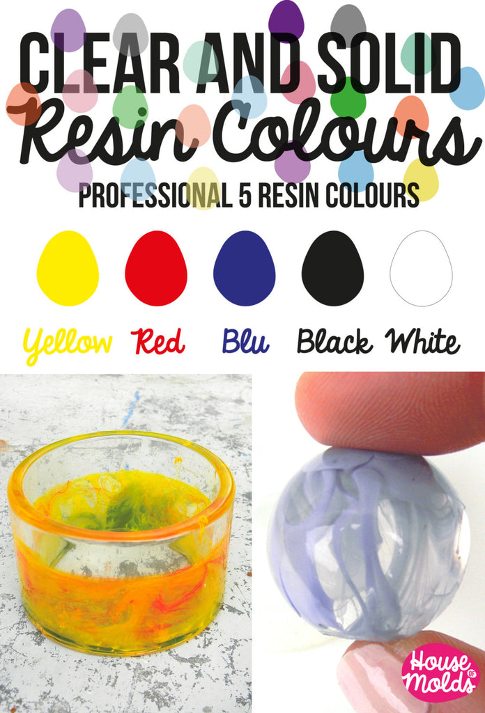 Solid and Clear Professional Resin Colour Kit of 5 -make Opaque and Clear Colour resin-high coloring properties infinite combination