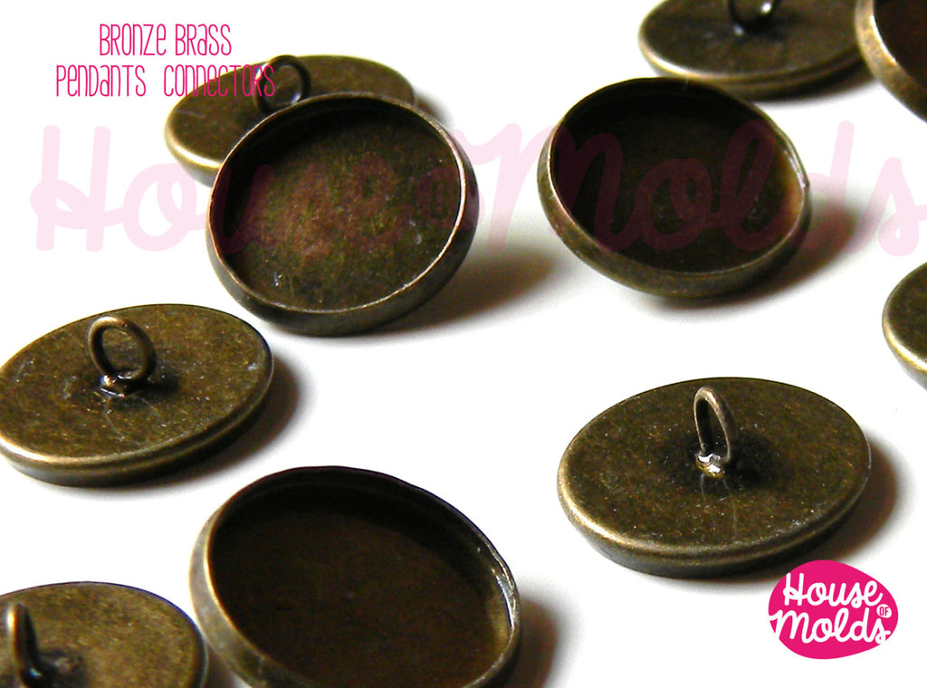Bronze Brass Glue On Flat connectors for Pendants 16 mm diameter ,eyepin on top for dangling pendants-easy to use just glue on your pendant