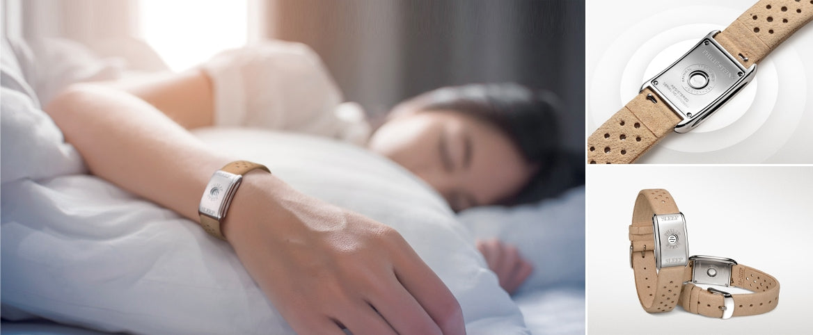 Woman sleeping while wearing her natural frequency technology sleep bracelet