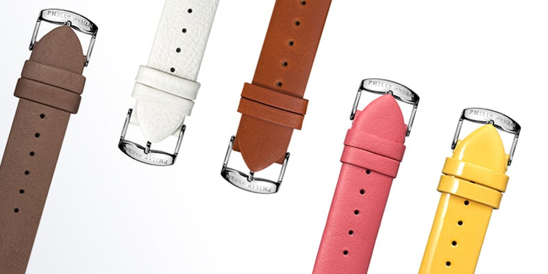 Five differently colored Philip Stein straps