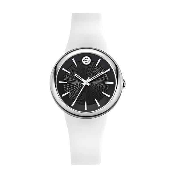 Alpine White Ladies Watch, Small Black Dial