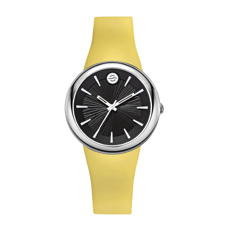 Canary Yellow Ladies Watch, Small Black Dial