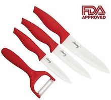 RED Ceramic Knives 4 pieces set. Professional utensils for every kitchen