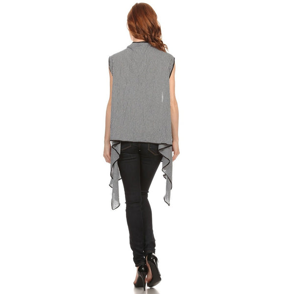 Womens Asymmetrical Striped Open Front Vest