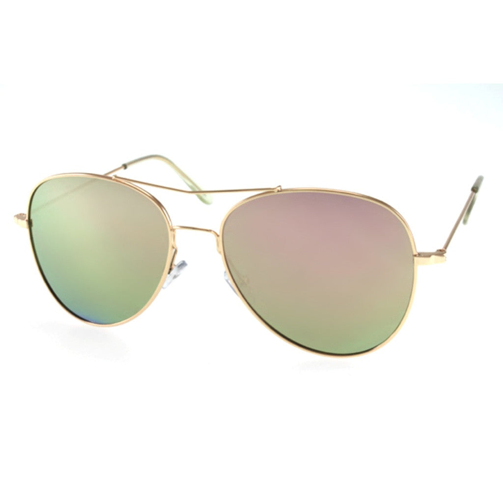 Green Aviator Sunglasses with Unique Brow Bar