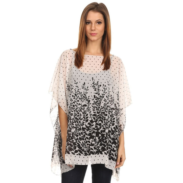 Womens Vine and Dot Summer Poncho Cover Up