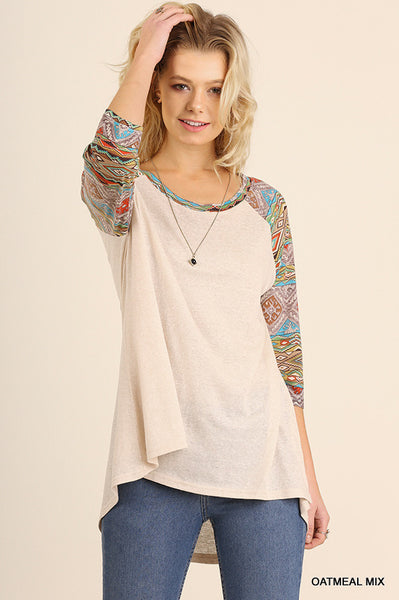High low sporty raglan t-shirt with patterned sleeves