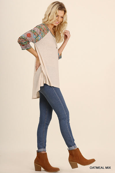 High Low Raglan Top with Printed Sleeves