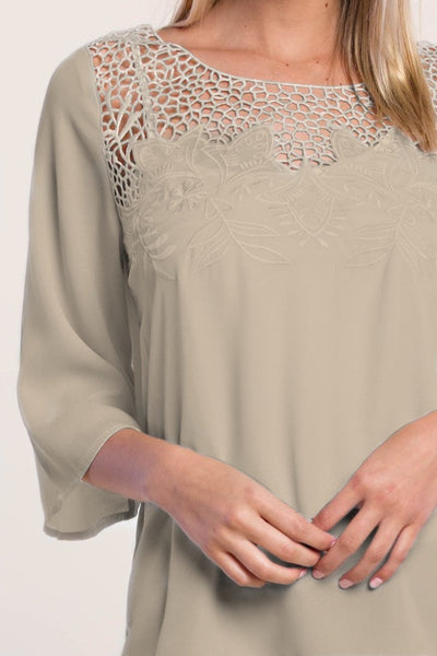 Floral Tunic With 3/4 Sleeve