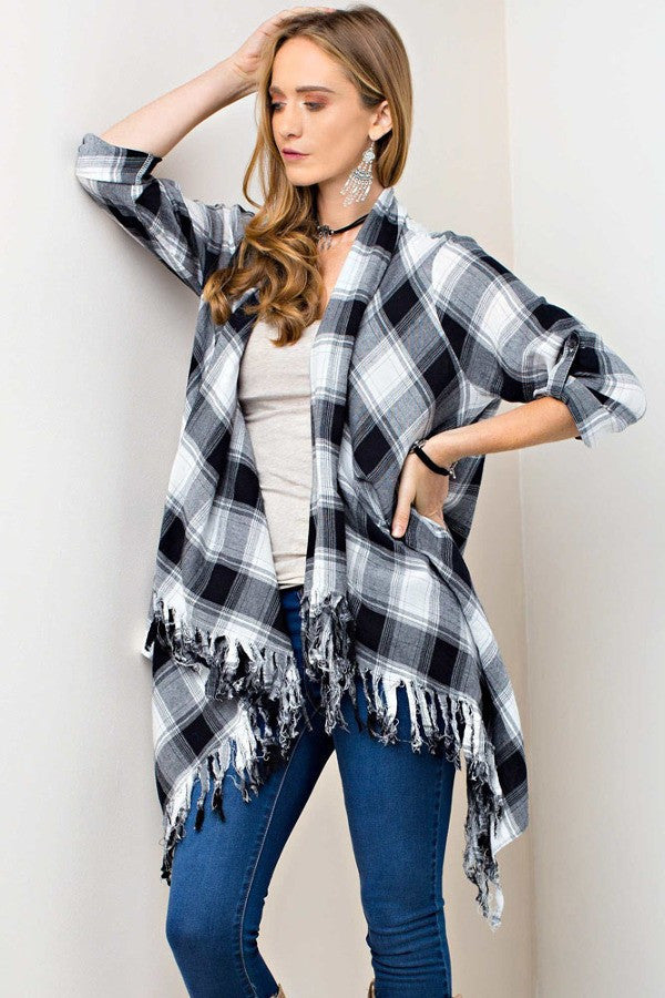 Black and white plaid shirt jacket with fringe accent