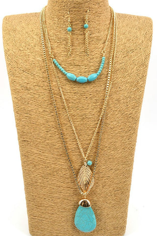Good and turquoise layered necklace and earring set
