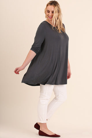 Gray tunic with open back accent detail plus curvy