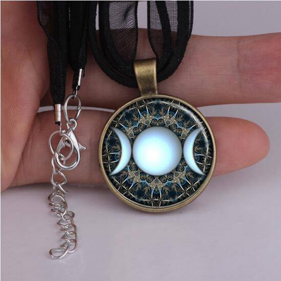 Womens wiccan necklace precious metal my spiritual jewelry fashion glass pendant necklace triple moon goddess jewelry moon phases wiccan pagan spiritual necklace ylq0125 aloadofball Choice Image