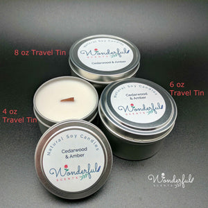 Soy Wax Travel Tin Candles With Wood Wicks
