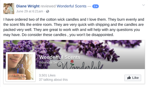 Wonderful Scents Customer Review of Candles
