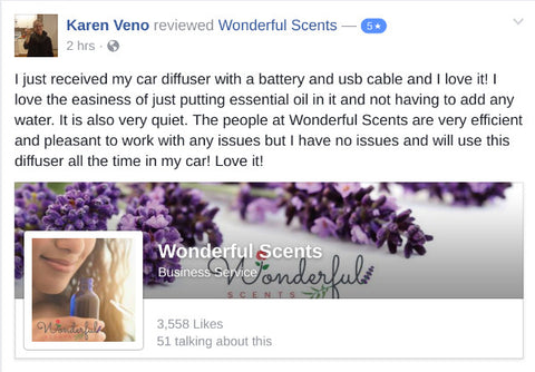 Wonderful Scents Nebulizer Facebook Review