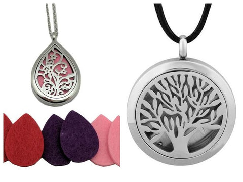Wonderful Scents Wearable Diffuser Lockets in Leather and Steel Chain