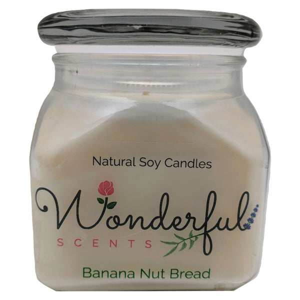 12oz Scented Bakery Jar Candle Banana Nut Bread Cotton Wick Glass Lid
