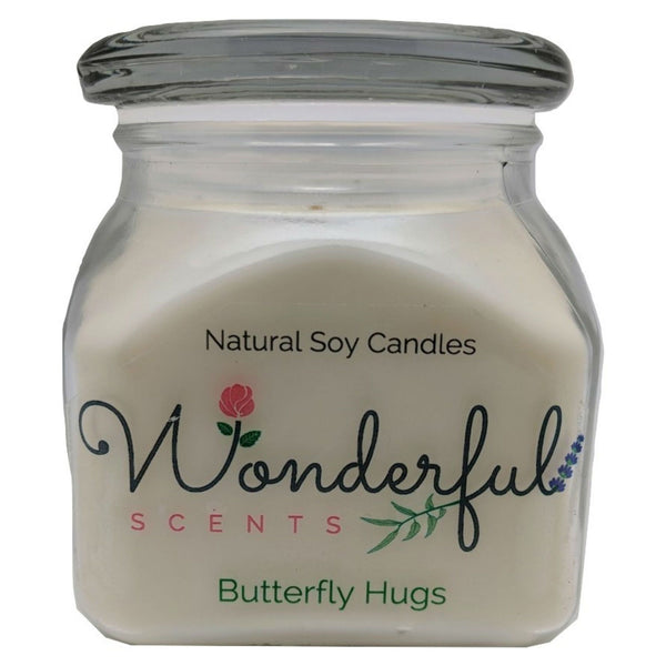 12oz Scented Bakery Jar Candle Butterfly Hugs Cotton Wick Glass Lid