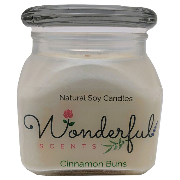 12oz Scented Bakery Jar Candle Cinnamon Bun Cotton Wick Glass Lid
