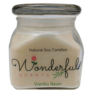 12oz Scented Bakery Jar Candle Vanilla Bean Cotton Wick Glass Lid