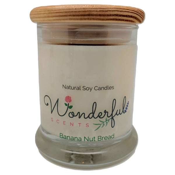 12oz Scented Status Jar Candle Banana Nut Bread Wood Wick With Wood Lid
