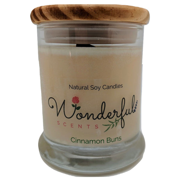 12oz Scented Status Jar Candle Cinnamon Buns Wood Wick With Wood Lid