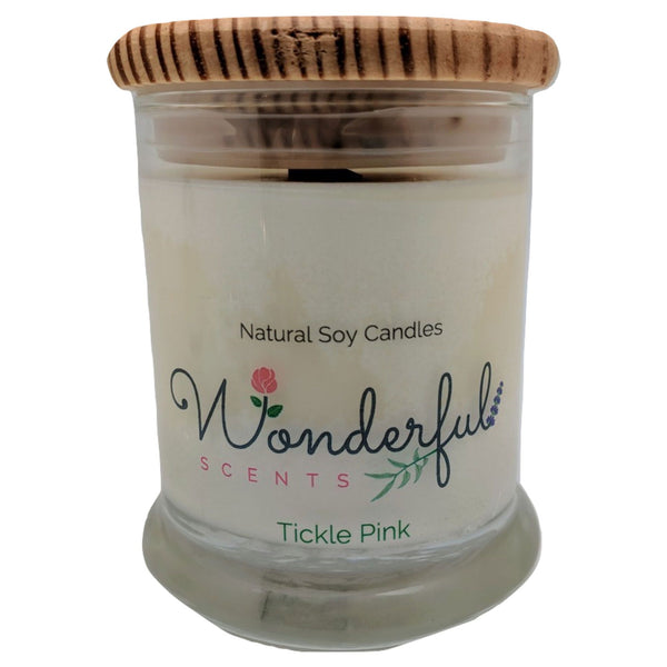 12oz Scented Status Jar Candle Tickle Pink Wood Wick With Wood Lid