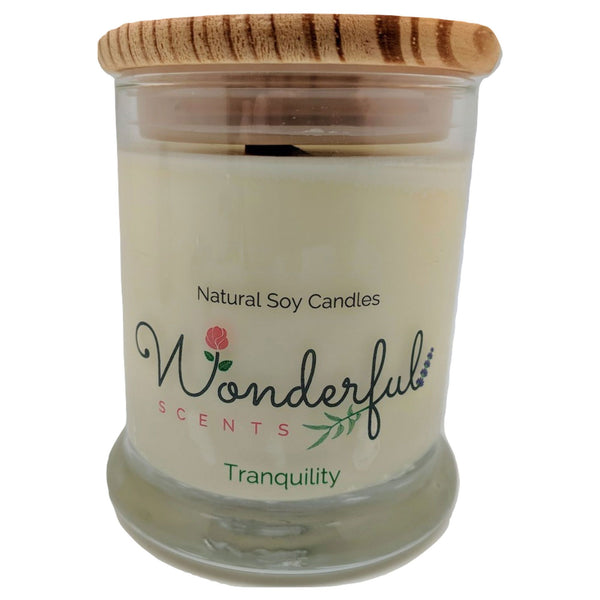 12oz Scented Status Jar Candle Tranquility Wood Wick With Wood Lid