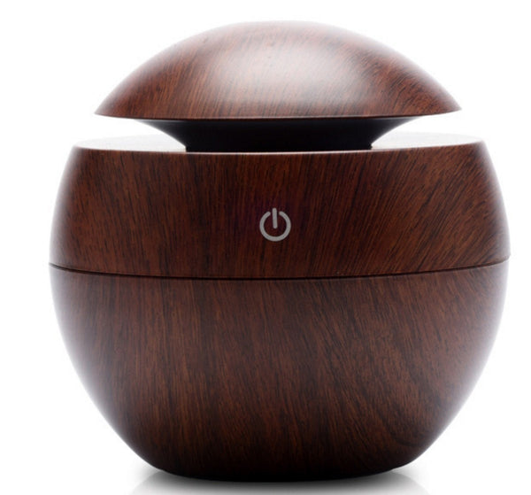 Dark Wood Grained130 ml Ultrasonic Cool Mist Essential Oil Diffuser with LED