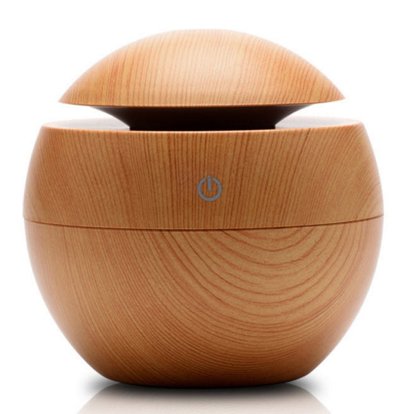 Light Wood Grained130 ml Ultrasonic Cool Mist Essential Oil Diffuser with LED
