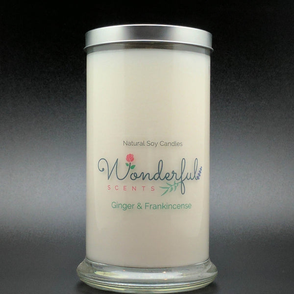 21 oz Ginger and Frankincense Soy Wax Cotton Wick Status Jar Candle