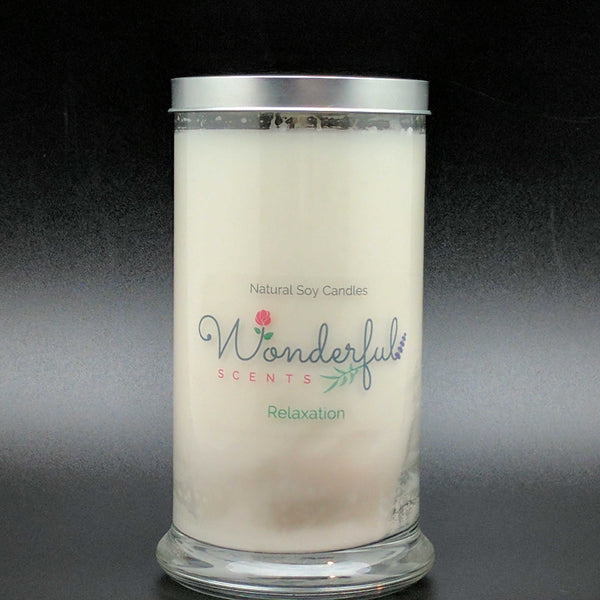 21 oz Relaxation Soy Wax Cotton Wick Status Jar Candle Tin Lid