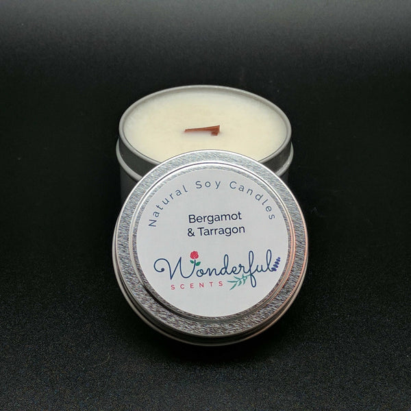 4 oz Soy Wax Travel Tin Bergamot and Tarragon Candles With Wood Wick