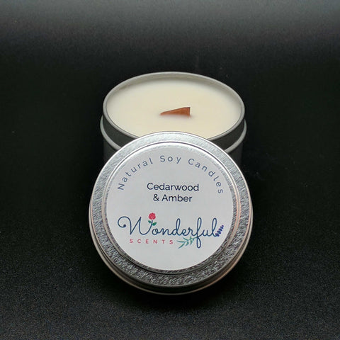 4 oz Soy Wax Travel Tin Candles With Wood Wick