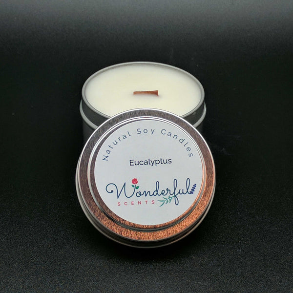 4 oz Soy Wax Travel Tin Eucalyptus Candles With Wood Wick