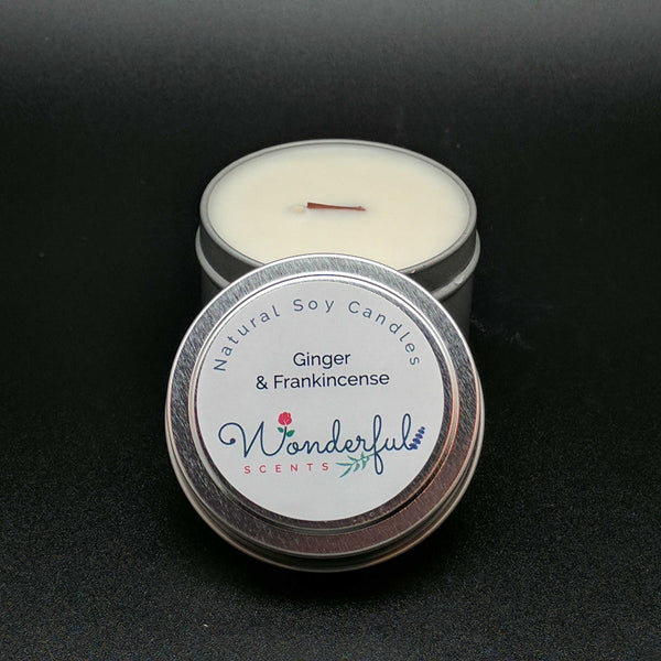 4 oz Soy Wax Travel Tin Ginger and Frankincense Candles With Wood Wick