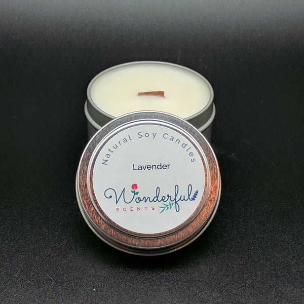 4 oz Soy Wax Travel Tin Lavender Candles With Wood Wick