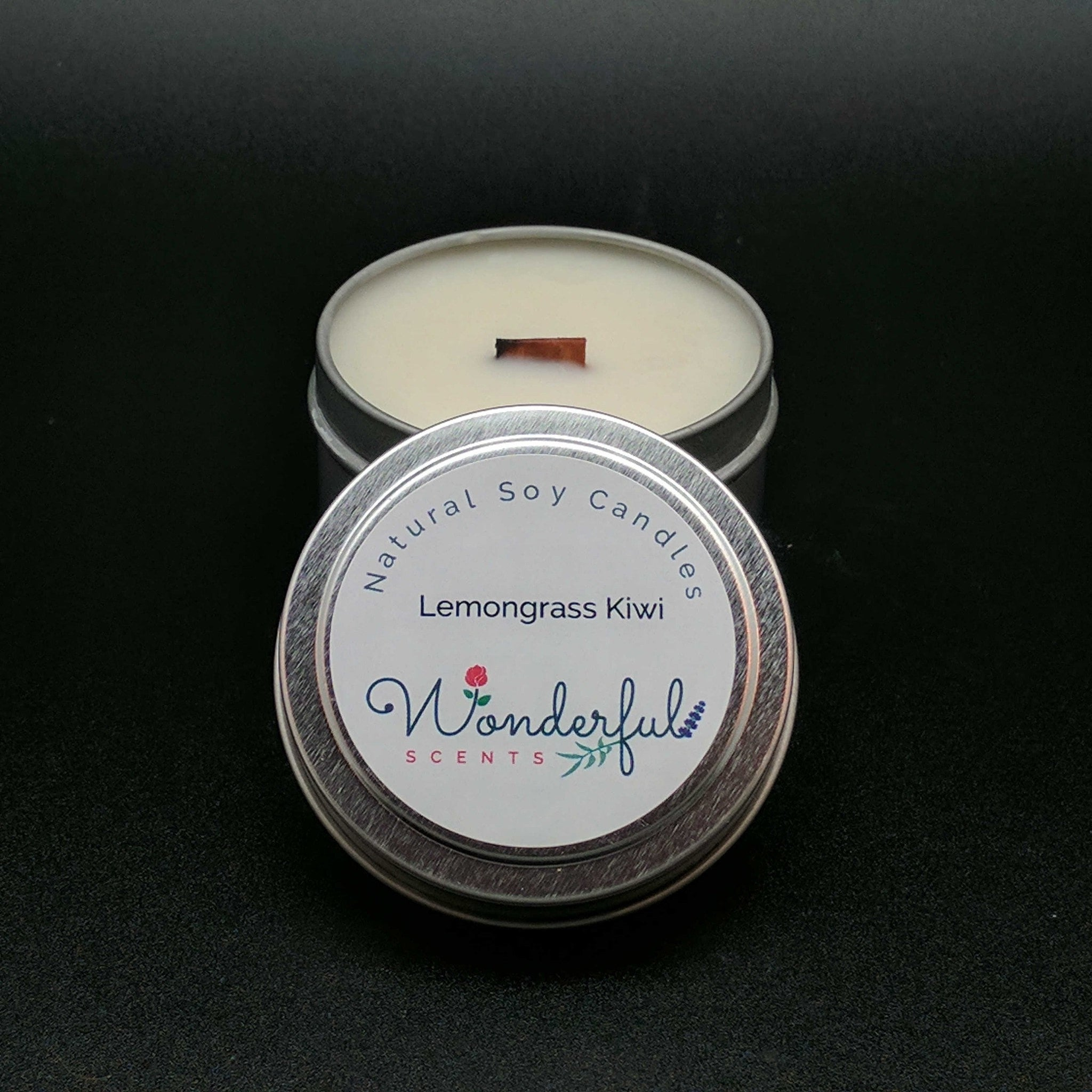 4 oz Soy Wax Travel Tin Lemongrass Kiwi Candles With Wood Wick