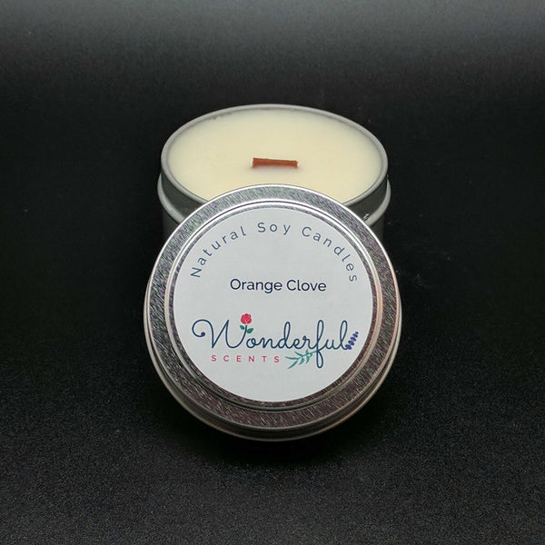 4 oz Soy Wax Travel Tin Orange Clove Candles With Wood Wick
