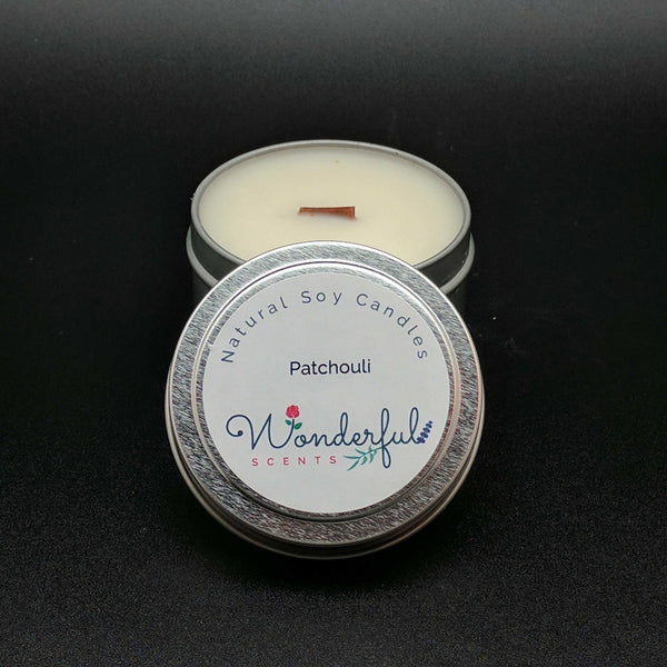4 oz Soy Wax Travel Tin Patchouli Candles With Wood Wick