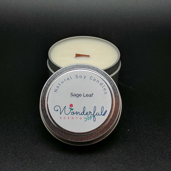 4 oz Soy Wax Travel Tin Sage Leaf Candles With Wood Wick