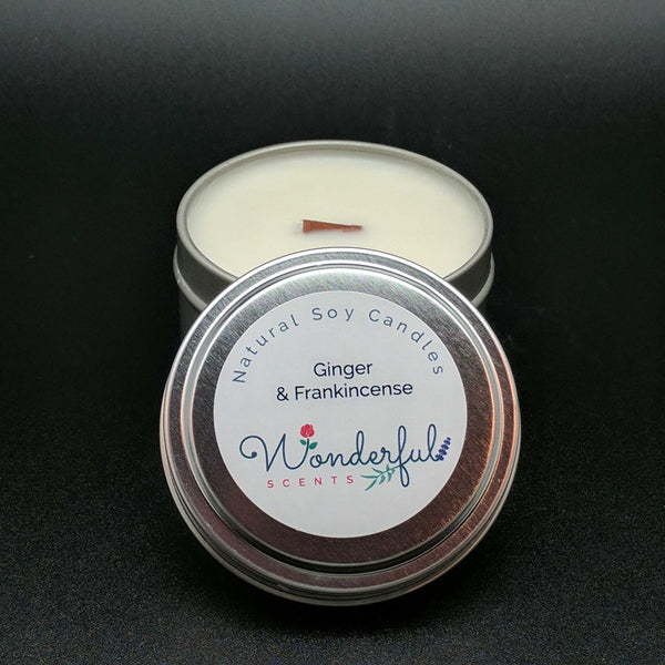 6 oz Soy Wax Travel Tin Ginger and Frankincense Candles With Wood Wick