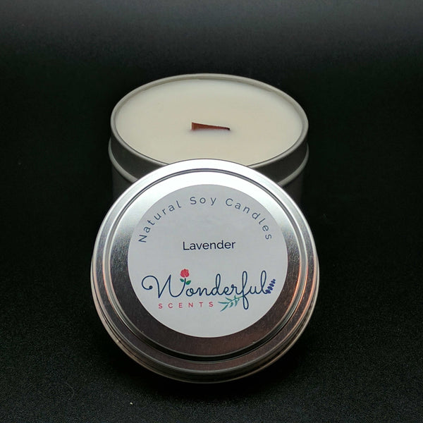 6 oz Soy Wax Travel Tin Lavender Candles With Wood Wick