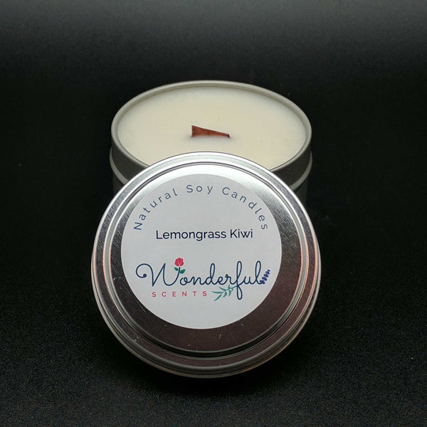6 oz Soy Wax Travel Tin Lemongrass Kiwi Candles With Wood Wick