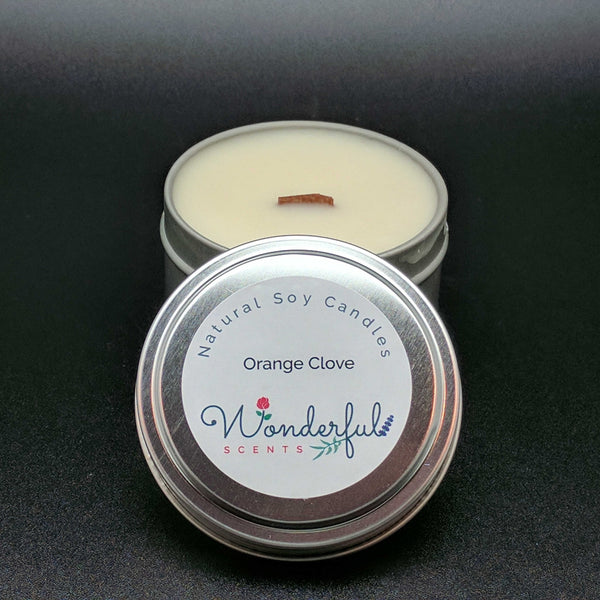 6 oz Soy Wax Travel Tin Orange Clove Candles With Wood Wick