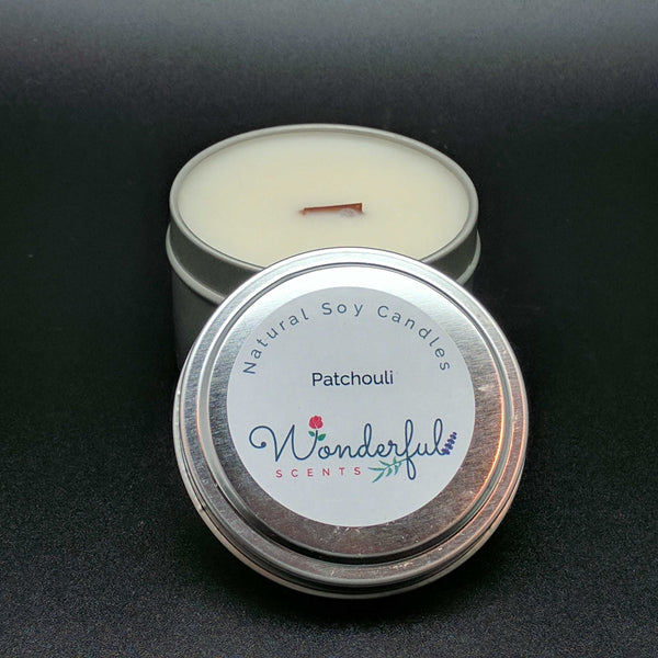 6 oz Soy Wax Travel Tin Patchouli Candles With Wood Wick