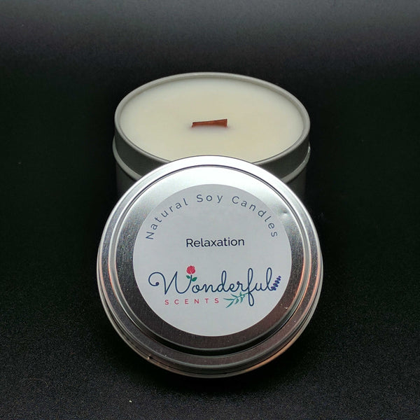 6 oz Soy Wax Travel Tin Relaxation Candles With Wood Wick