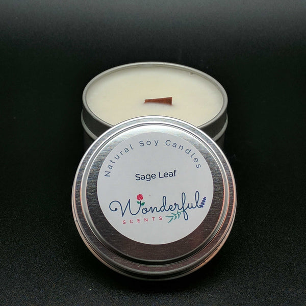 6 oz Soy Wax Travel Tin Sage Leaf Candles With Wood Wick